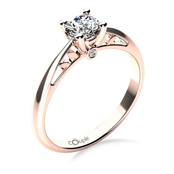 Zásnubní prsten Jodie, růžové zlato a brilianty