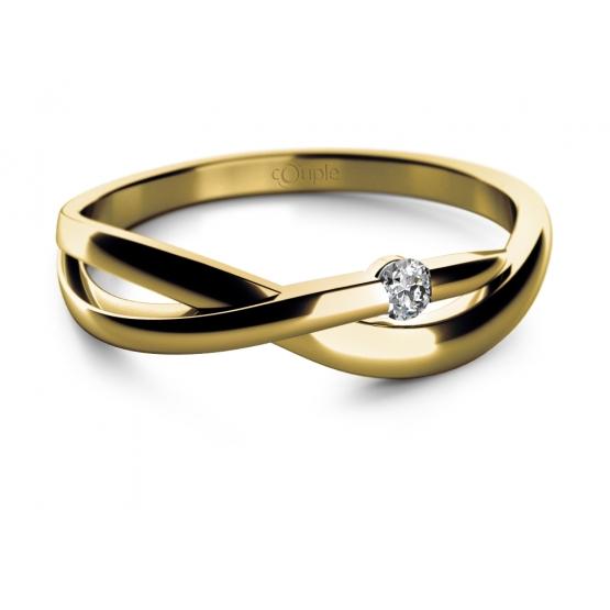 Zásnubní prsten Odette ve žlutém zlatě s briliantem