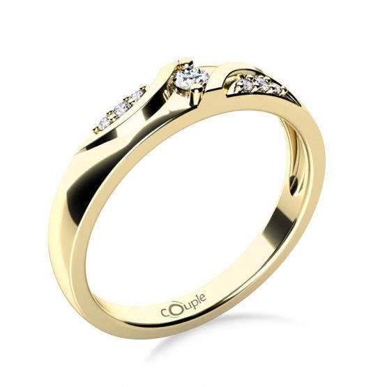 Moderní zásnubní prsten Peyton, žluté zlato se zirkony