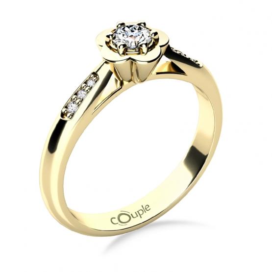 Couple, Květinový zásnubní prsten Rami, žluté zlato a zirkony