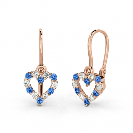 Luxur, Dětské náušnice Viola, růžové zlato a světle modré zirkony