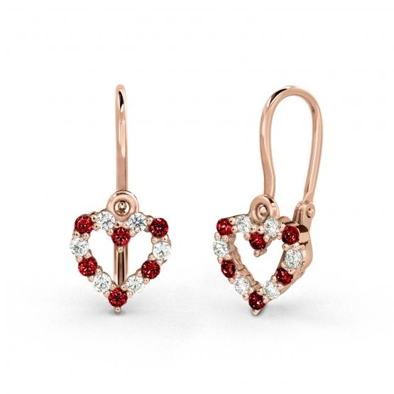 Luxur, Dětské náušnice Viola, růžové zlato a červené zirkony