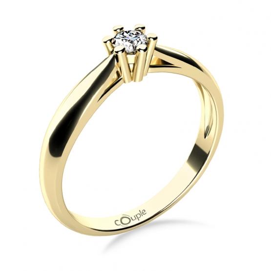 Nadčasový zásnubní prsten Nyla, žluté zlato se zirkonem