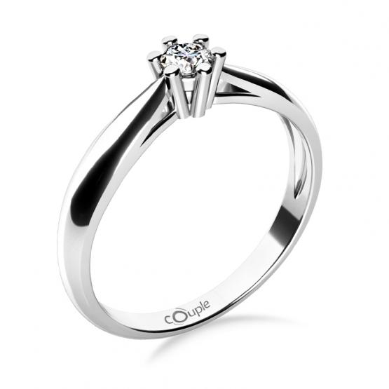Couple, Nadčasový zásnubní prsten Nyla, bílé zlato se zirkonem