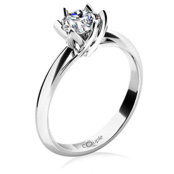 Zásnubní prsten Lucille, bílé zlato s velkým briliantem