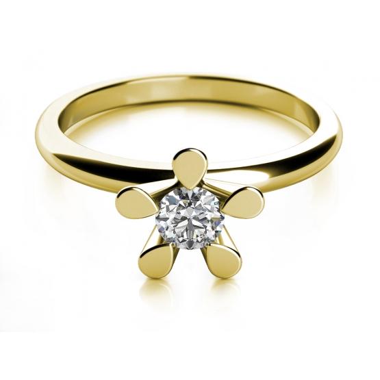 Zásnubní prsten Flower II, žluté zlato s briliantem