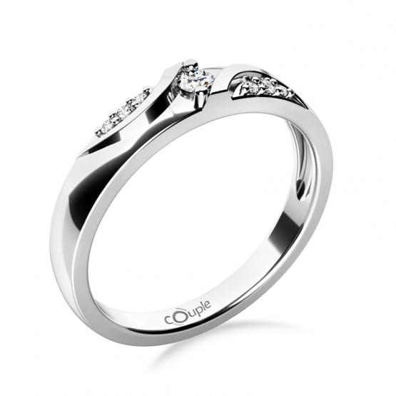 Moderní zásnubní prsten Peyton, bílé zlato se zirkony