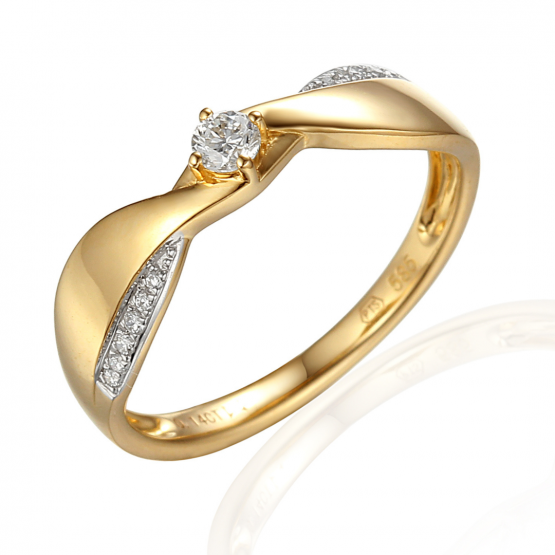 Neobvyklý zásnubní prsten Skylar, kombinované zlato s brilianty