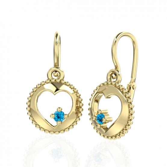 Couple, Srdíčkové dětské náušnice Orin, žluté zlato s barevnými zirkony, 6630682-0-0-26