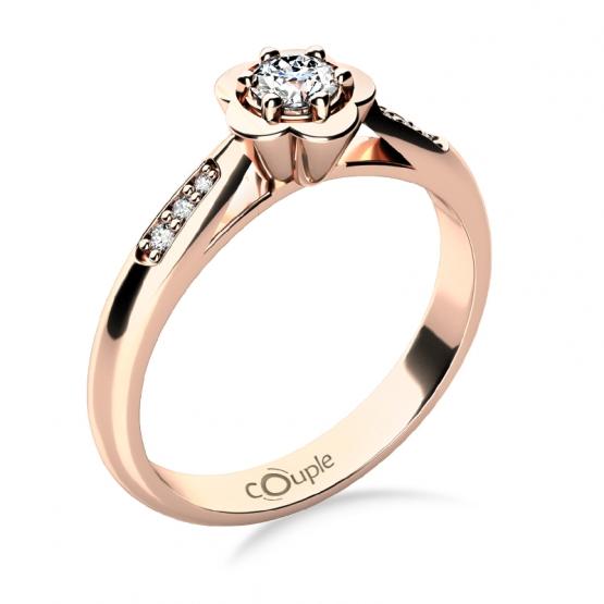 Květinový zásnubní prsten Rami, růžové zlato a zirkony