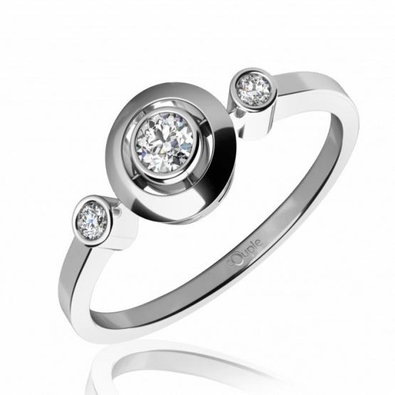 Třpytivý zásnubní prsten Korfu z bílého zlata s brilianty