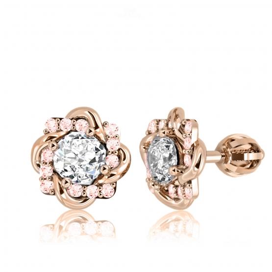 Couple, Působivé náušnice Fiore, růžové zlato s barevnými zirkony