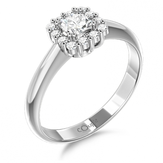 Elegantní prsten Clara, bílé zlato s brilianty
