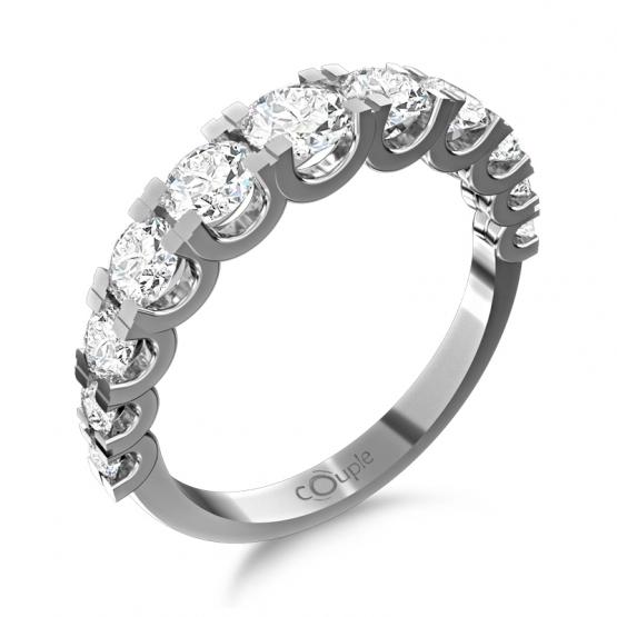 Nepřehlédnutelný prsten Avril, bílé zlato s brilianty