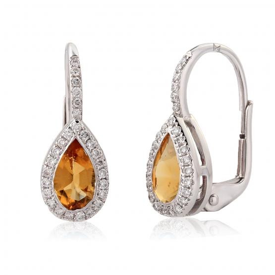 Gems, Elegantní náušnice Crystal, bílé zlato s brilianty a citríny