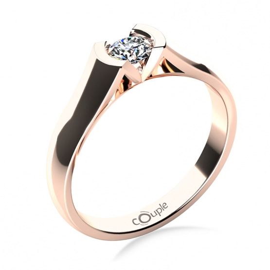 Zásnubní prsten Paige, růžové zlato s briliantem