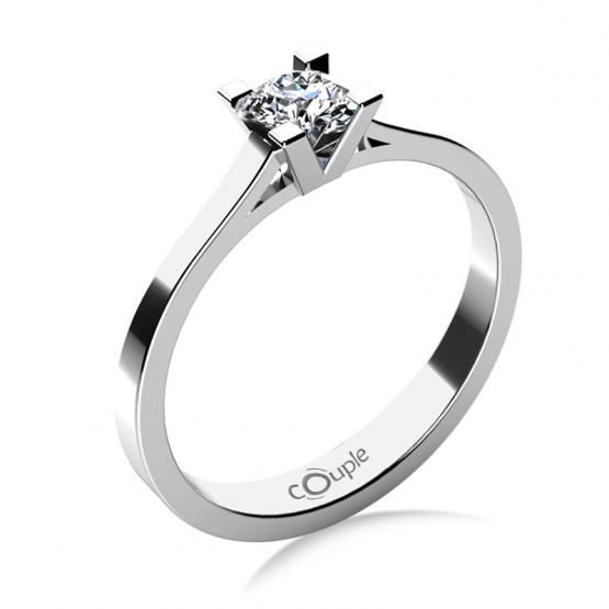 Zásnubní prsten Olla, bílé zlato s briliantem