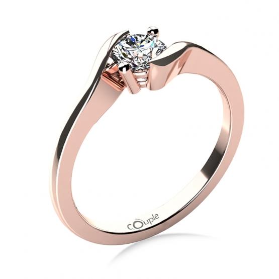 Zásnubní prsten Tanya, růžové zlato s briliantem