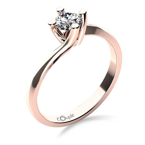 Zásnubní prsten Sivan, růžové zlato s výrazným briliantem