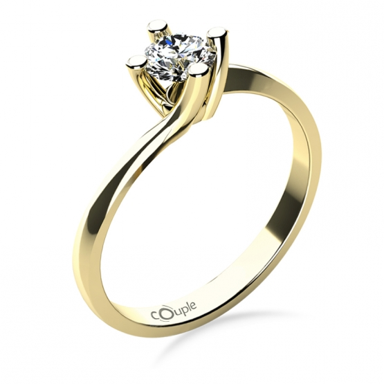 Zásnubní prsten Sivan, žluté zlato s velkým briliantem