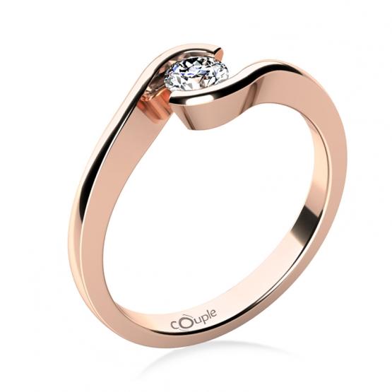 Zásnubní prsten Linette, růžové zlato a výrazný briliant