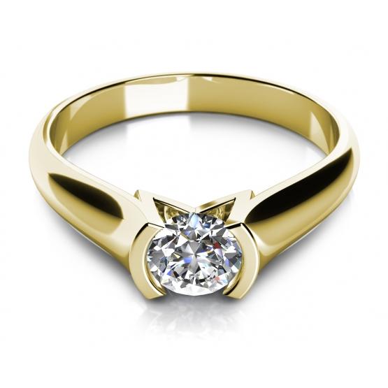 Zásnubní prsten Zaria ve žlutém zlatě s briliantem