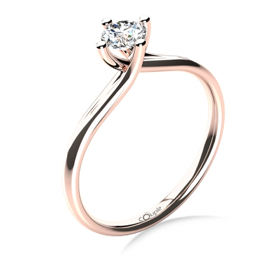 Couple, Celia – zásnubní prsten z růžového zlata s velkým zirkonem