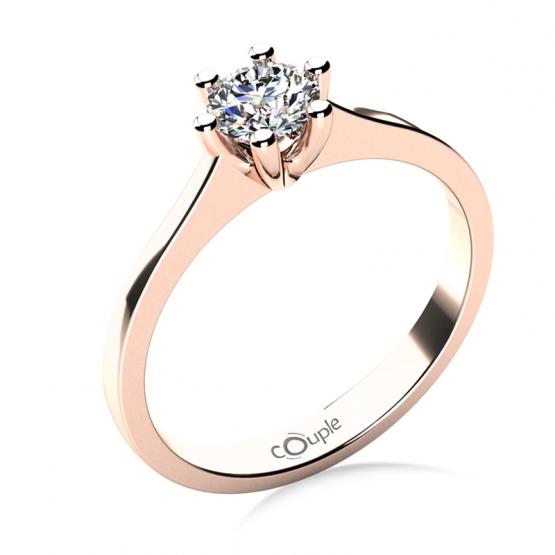 Oblíbený zásnubní prsten Layla, růžové zlato a velký zirkon