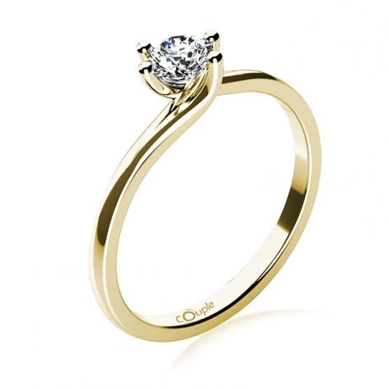 Patric – zásnubní prsten ze žlutého zlata s výrazným briliantem