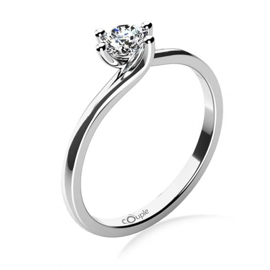 Couple, Patric – zásnubní prsten z bílého zlata s velkým briliantem