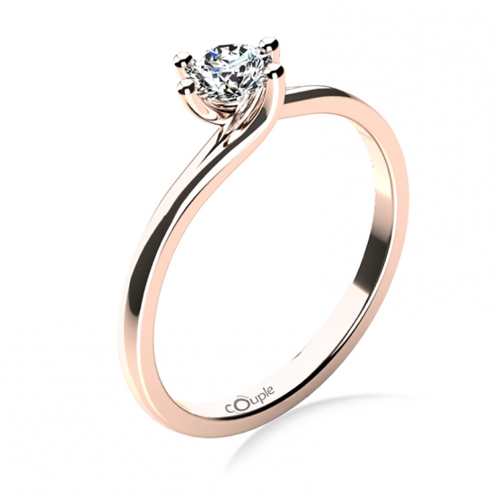 Patric – zásnubní prsten z růžového zlata s velkým briliantem