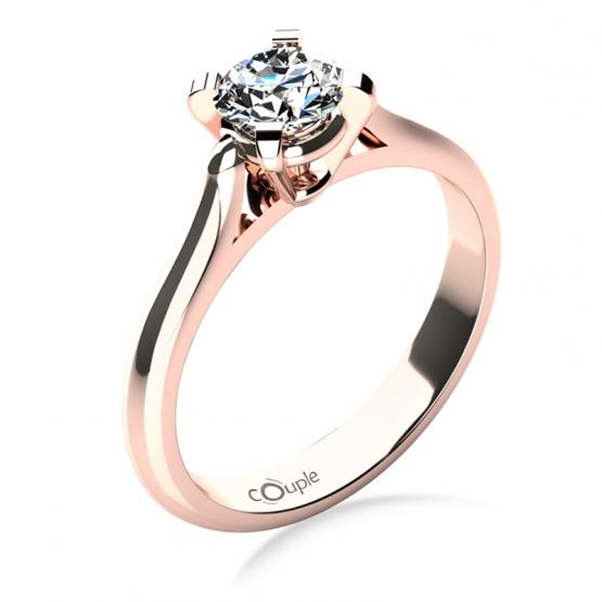 Zásnubní prsten Grace, růžové zlato s briliantem