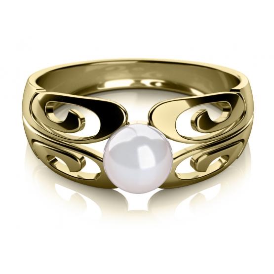 Zajímavý prsten Brina, žluté zlato a perla