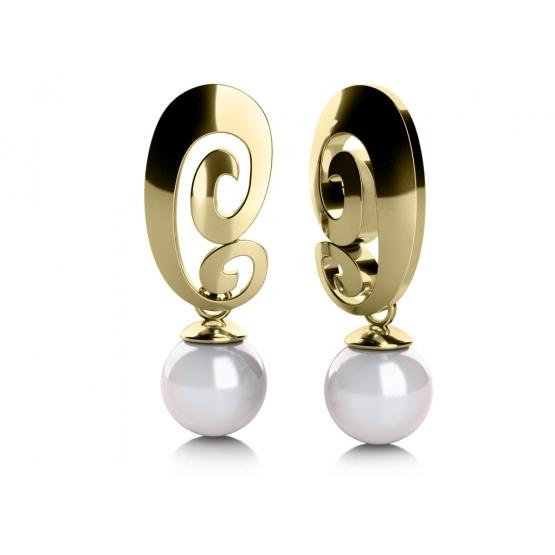 Zajímavé náušnice Brina, žluté zlato a perly