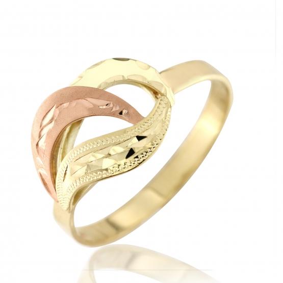 Zajímavý prsten Mary, žluté zlato v kombinaci s červeným