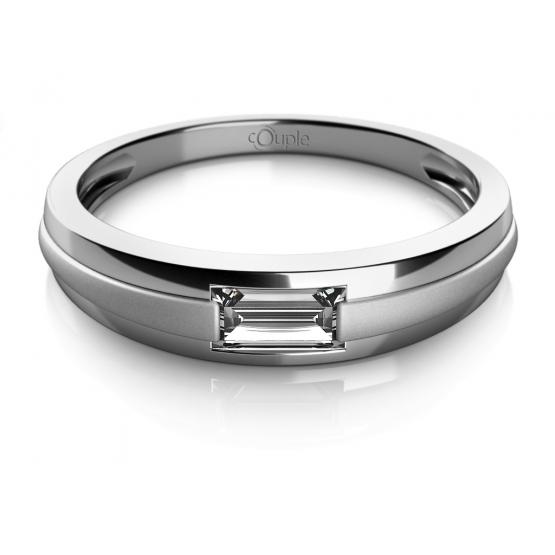 Couple, Decentní prsten Oliv, bílé zlato se zirkonem