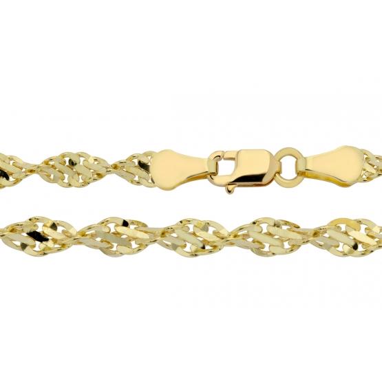 Luxur, Výrazný řetízek Tardi typu twist, žluté zlato, délka: 18 cm, 3640021-0-18-0