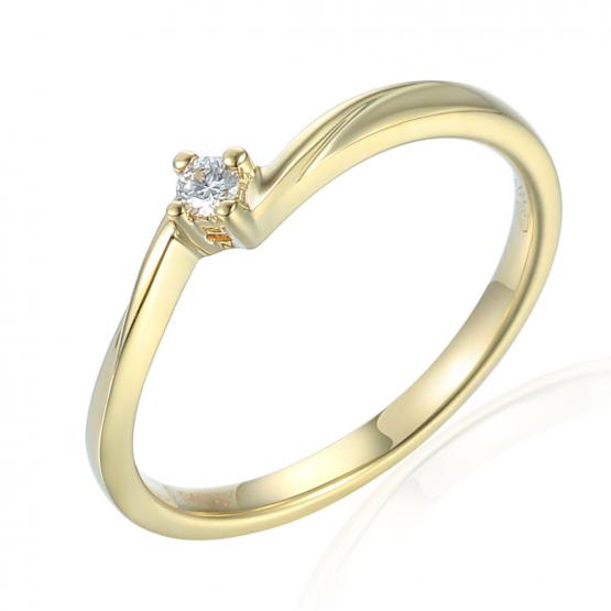 Jemný prsten Caris, žluté zlato s briliantem