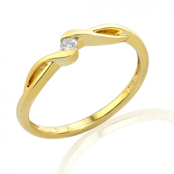 Něžný zásnubní prsten Brise, žluté zlato s briliantem
