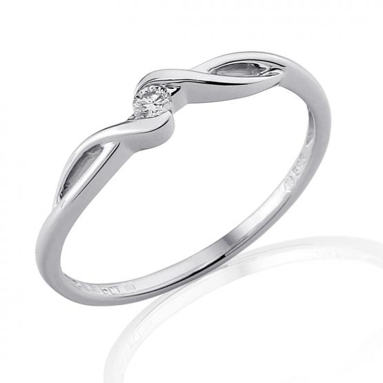 Gems, Něžný zásnubní prsten Brise, bílé zlato s briliantem