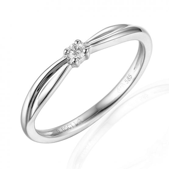 Zásnubní prsten Reba, bílé zlato s briliantem