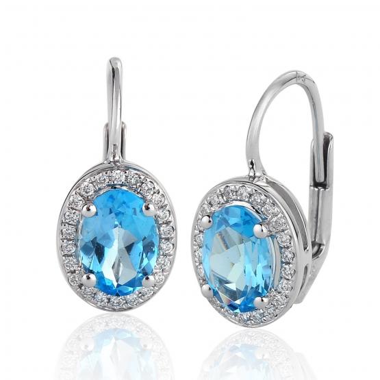Gems, Elegantní náušnice Gwen, bílé zlato s brilianty a modrými topazy