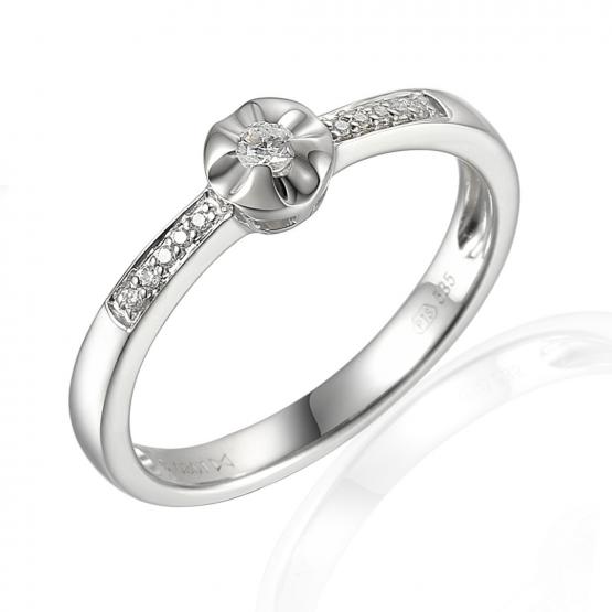 Zásnubní prsten Pansy v bílém zlatě s brilianty
