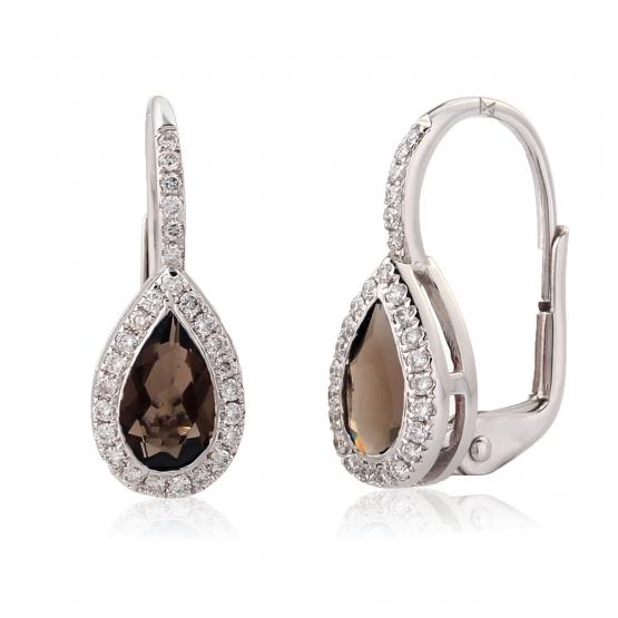 Elegantní náušnice Crystal, bílé zlato s brilianty a záhnědou (smoky quartz)