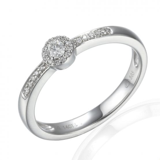 Elegantní diamantový prsten Davina, bílé zlato s brilianty