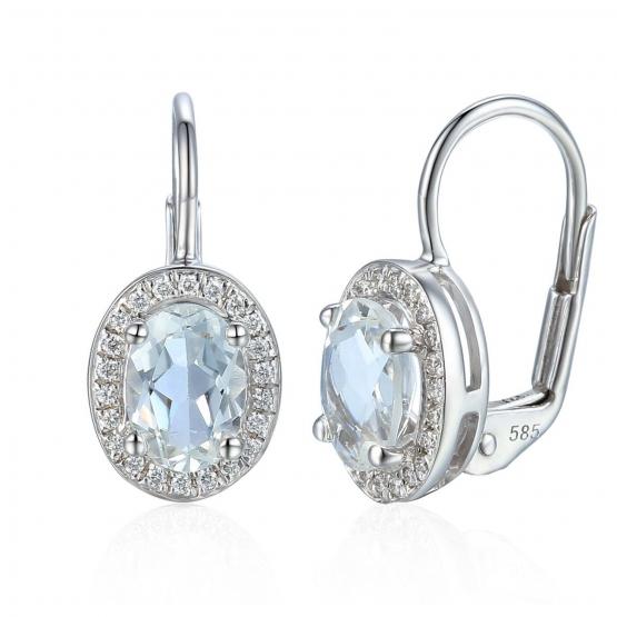 Gems, Elegantní náušnice Gwen, bílé zlato s brilianty a bílými topazy, 3880137-0-0-82