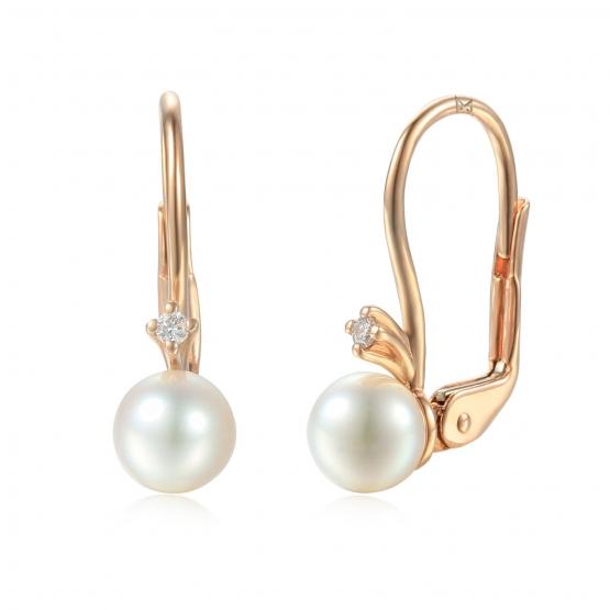 Diamantové náušnice Estelle, růžové zlato a perly
