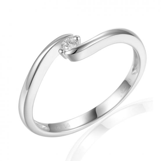 Minimalistický prsten Brennon, bílé zlato briliantem
