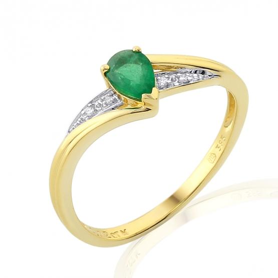 Působivý prsten Roya, kombinované zlato s brilianty a smaragdem
