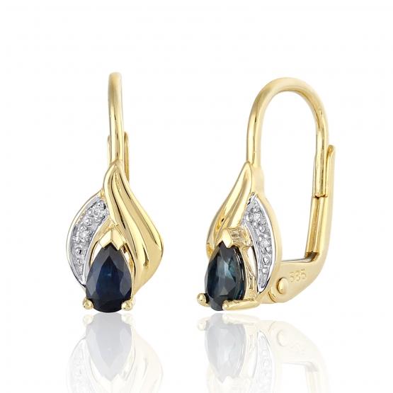 Gems, Působivé náušnice Roya, kombinované zlato s brilianty a safíry